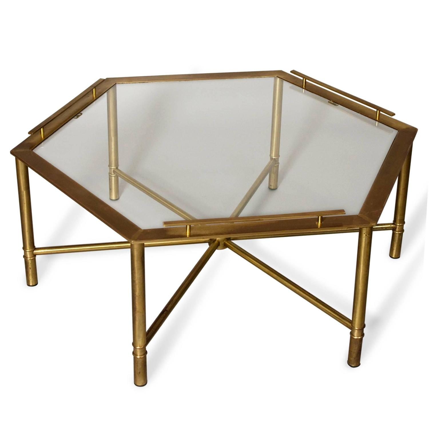 Bronze Hexagonal Coffee Table By Mastercraft At 1stdibs