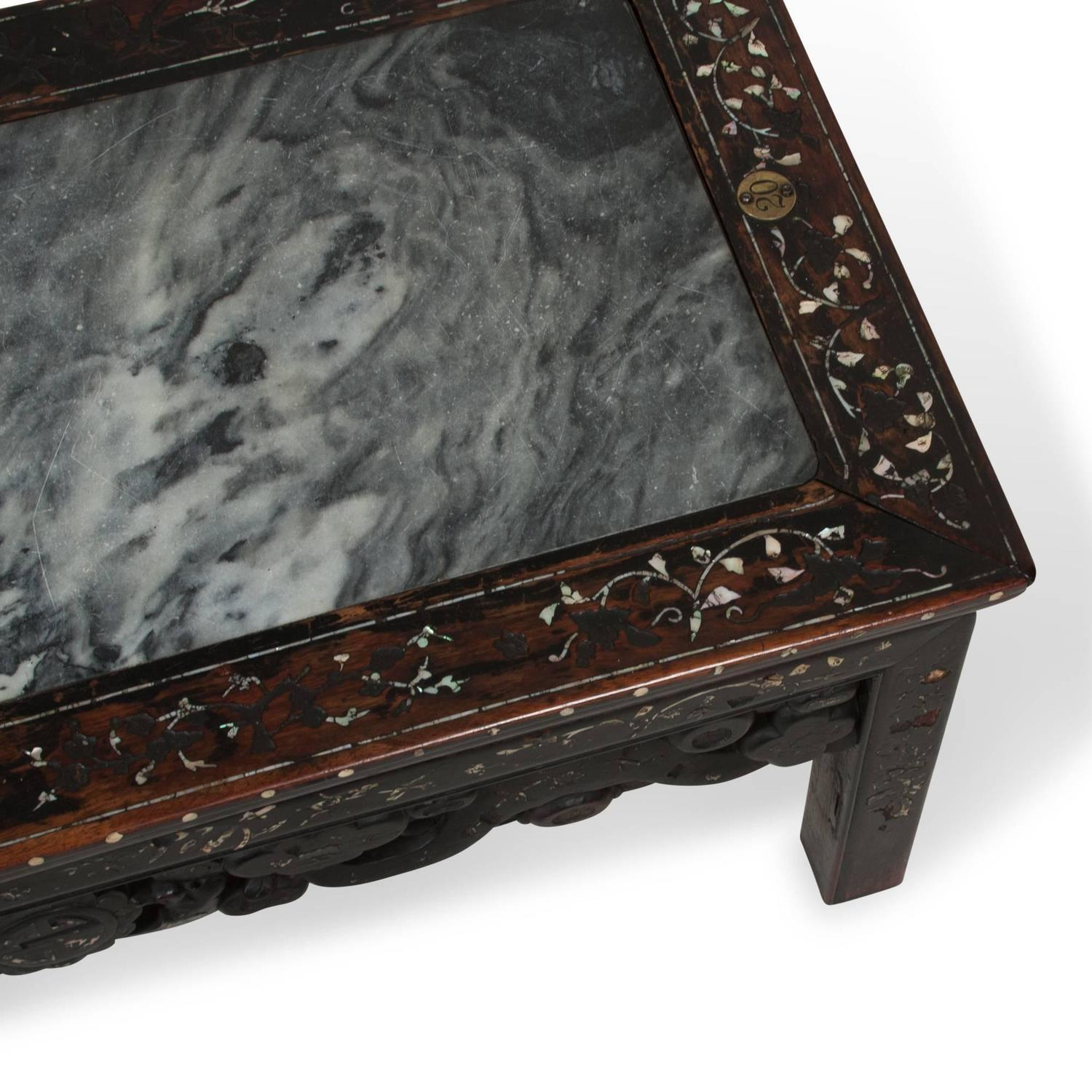 Marquetry Marble Coffee Table: Chinese 1960s Marble Inlay Coffee Table For Sale At 1stdibs
