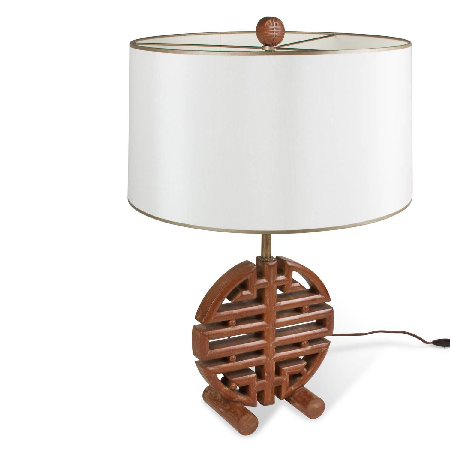 james mont style geometric wood table lamp for sale at 1stdibs. Black Bedroom Furniture Sets. Home Design Ideas