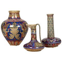 Set of Three Hand-Painted Ceramics by Rubboli