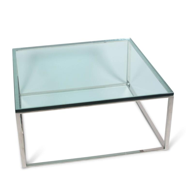 Chrome X Frame Coffee Table: Square Chrome Box Frame Coffee Table, American, 1970s For