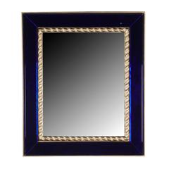 Blue Glass Frame Wall Mirror with Gilt Rope Border, by Pierre Lardin