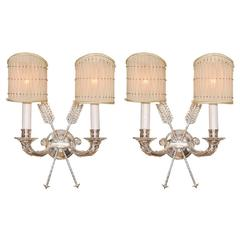 Pair of Two-Arm Silver Arrow Sconces, French, 1940s