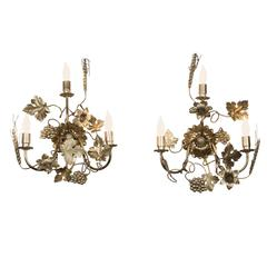 Pair of Gilded Metal Sconces, French, 1960s