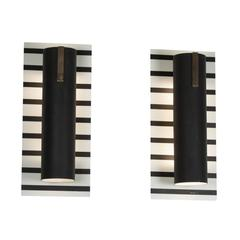 Pair of Black Stripe Painted Metal Wall Sconces, French, 1960s