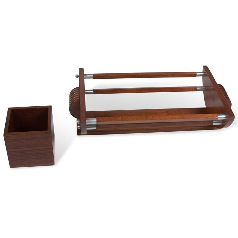 Palissander And Nickel Letter Tray With Matching Box