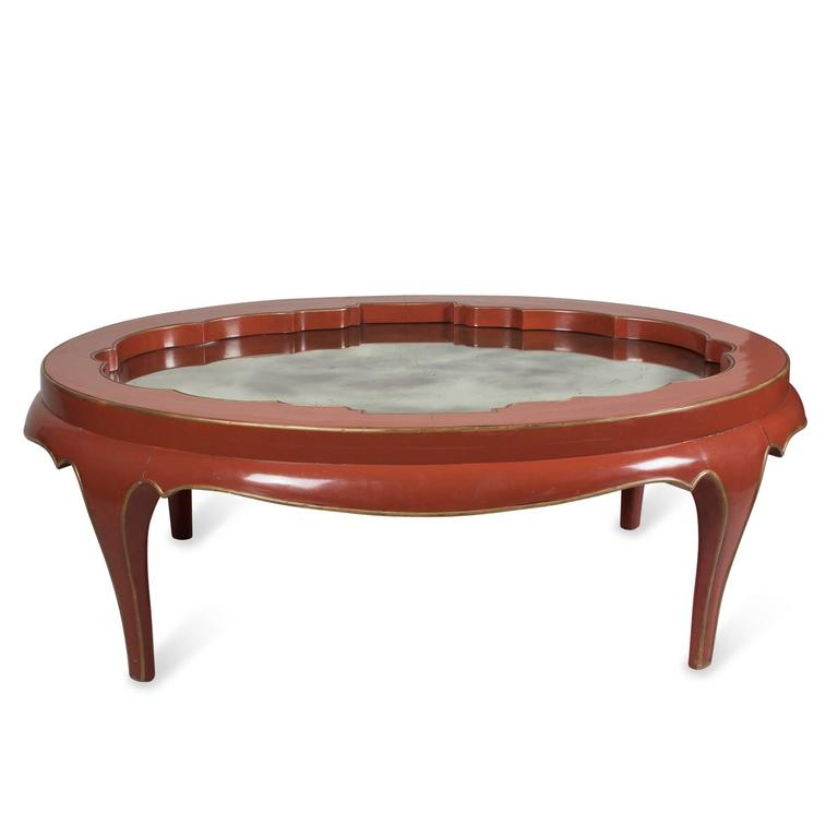 Gallery Top Red Lacquered Coffee Table, James Mont 2
