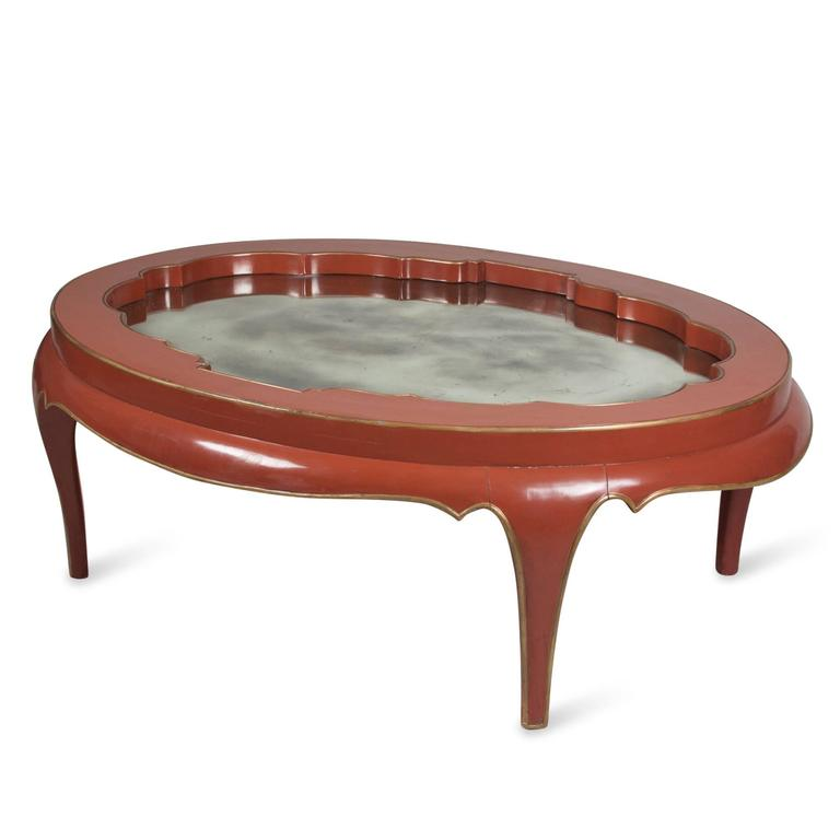 Gallery Top Red Lacquered Coffee Table For Sale At 1stdibs