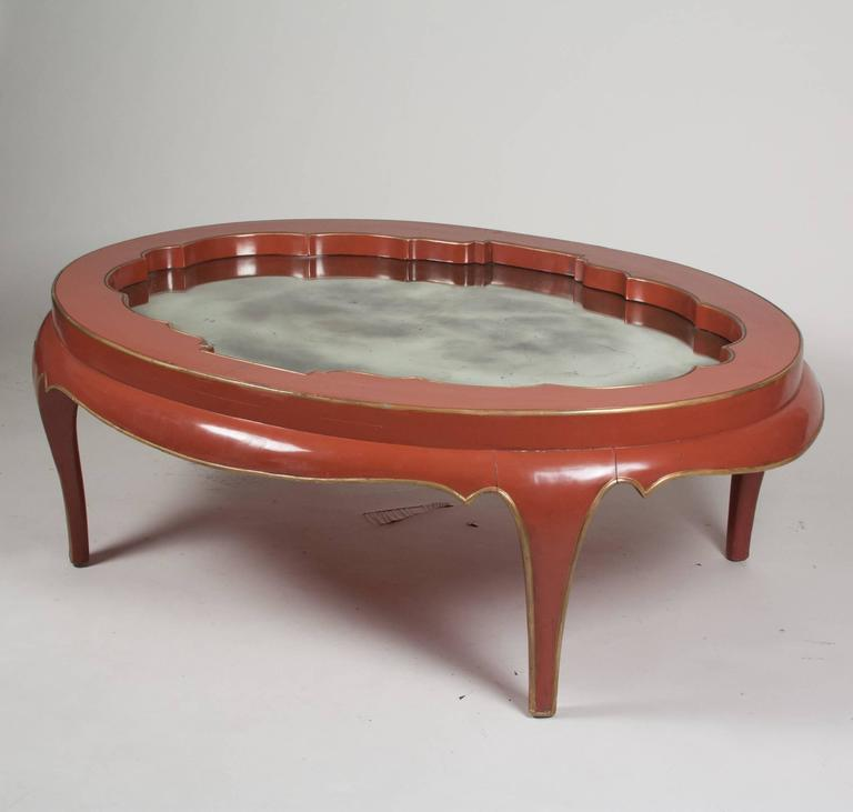 Gallery Top Red Lacquered Coffee Table, James Mont 5