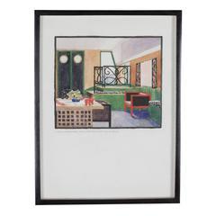 Salon Martine Interior, Gouache on Paper