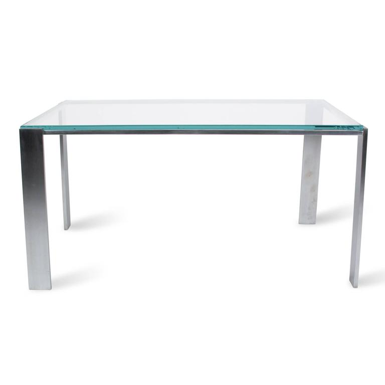 Chrome Frame Coffee Table With Offset Legs French 1970s For Sale At 1stdibs