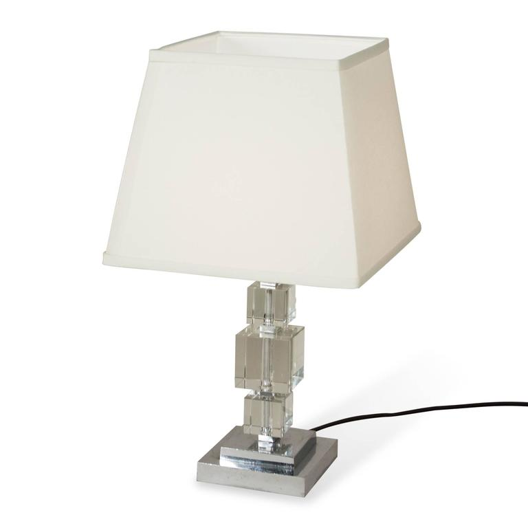 Crystal Cube Table Lamp, French, 1930s 2