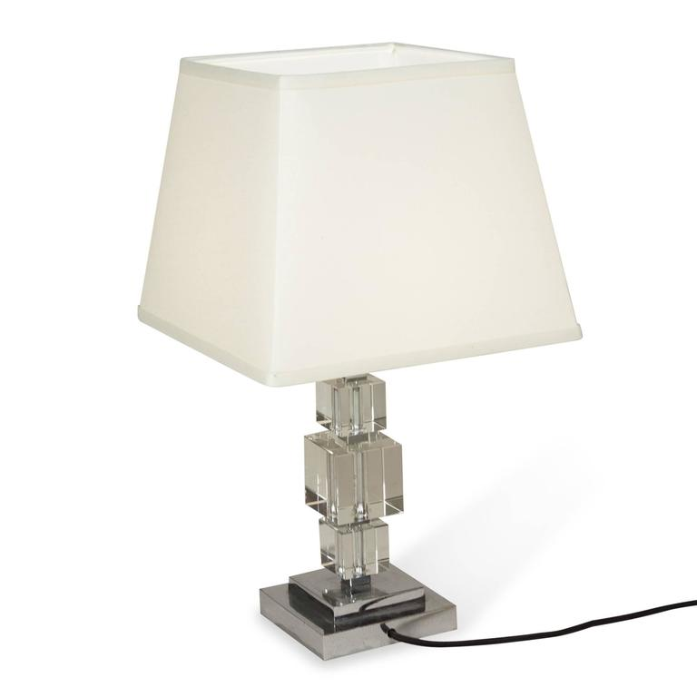Crystal Cube Table Lamp, French, 1930s 5