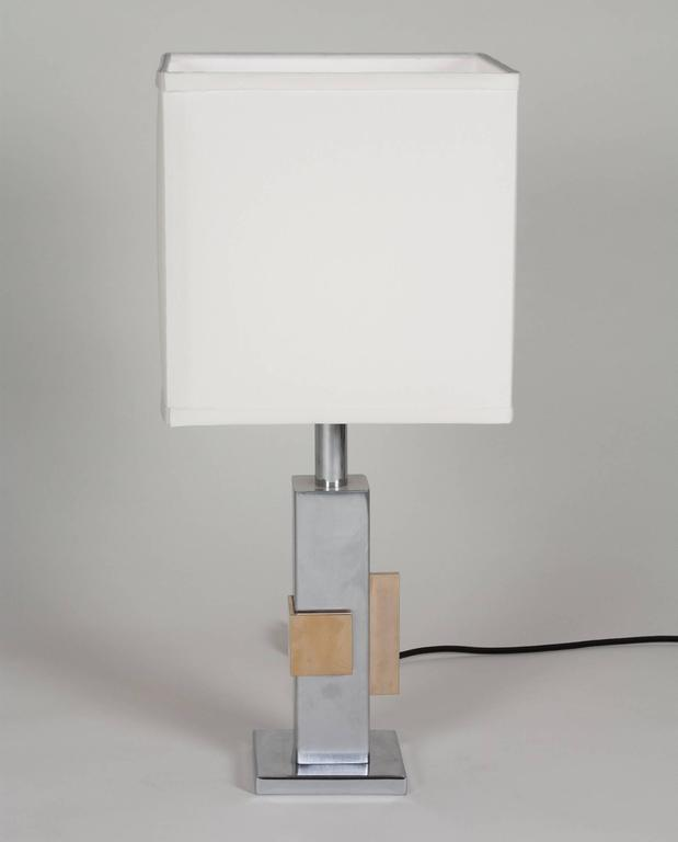 Geometric Chrome and Bronze Table Lamp, French, 1970s 2