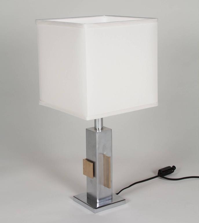 Geometric Chrome and Bronze Table Lamp, French, 1970s 3
