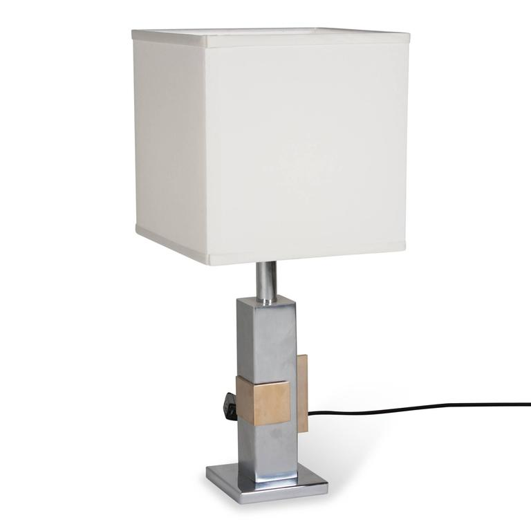 Geometric Chrome and Bronze Table Lamp, French, 1970s 4