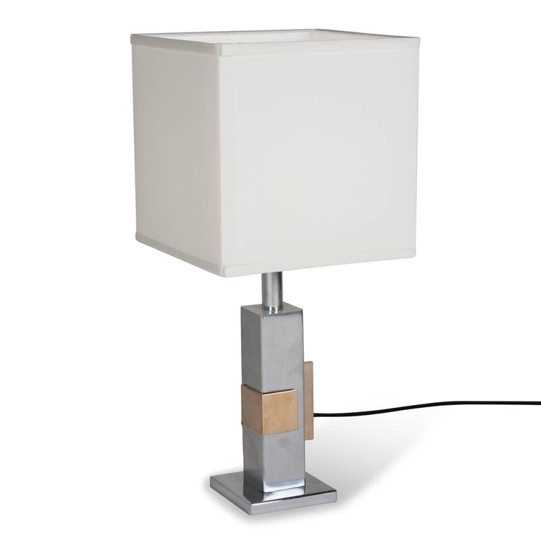 Geometric Chrome and Bronze Table Lamp, French, 1970s 5