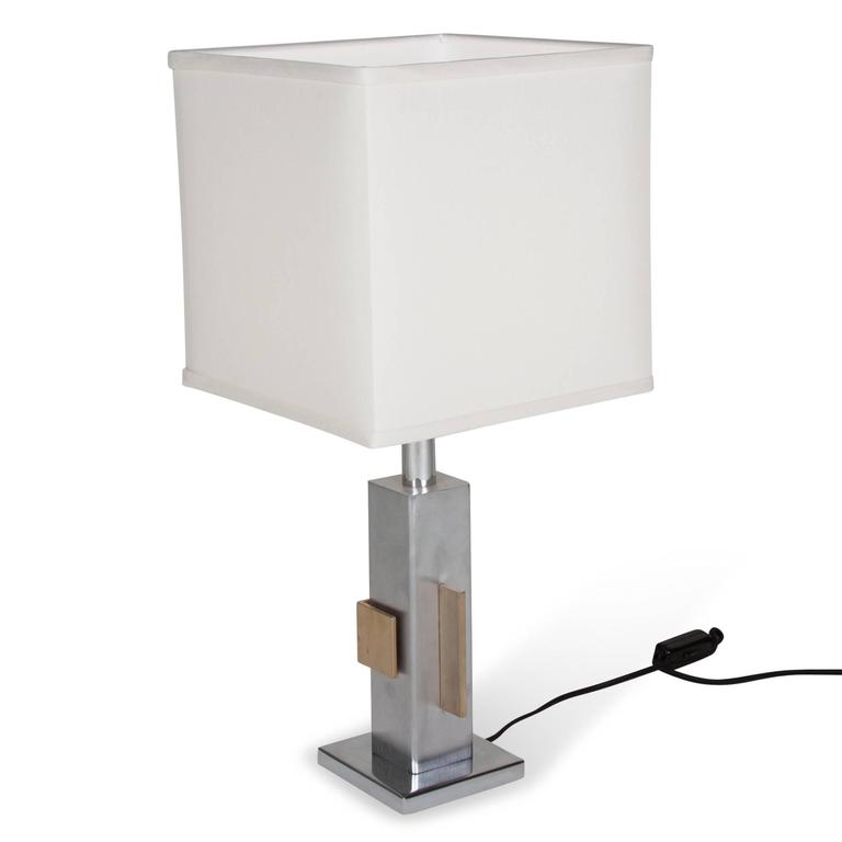 Geometric Chrome and Bronze Table Lamp, French, 1970s 6