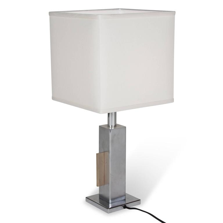 Geometric Chrome and Bronze Table Lamp, French, 1970s 7