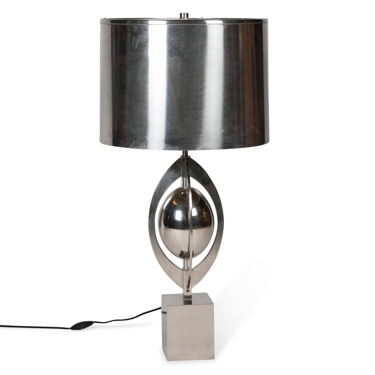 Polished Steel Table Lamp by Charles et Cie, French, 1960s 2
