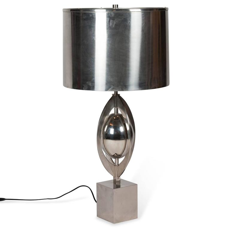 Polished Steel Table Lamp by Charles et Cie, French, 1960s 3