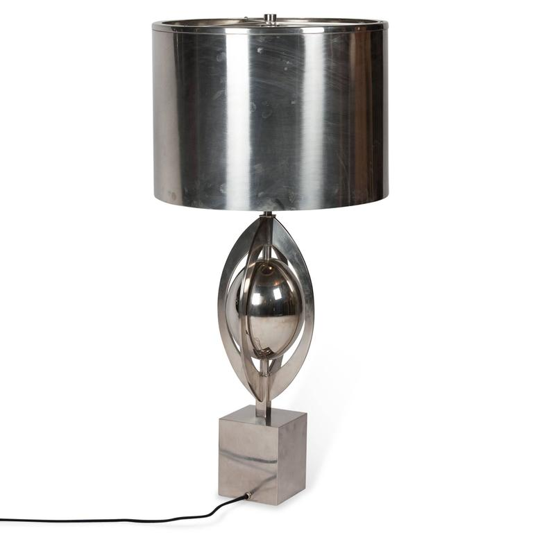Polished Steel Table Lamp by Charles et Cie, French, 1960s 4