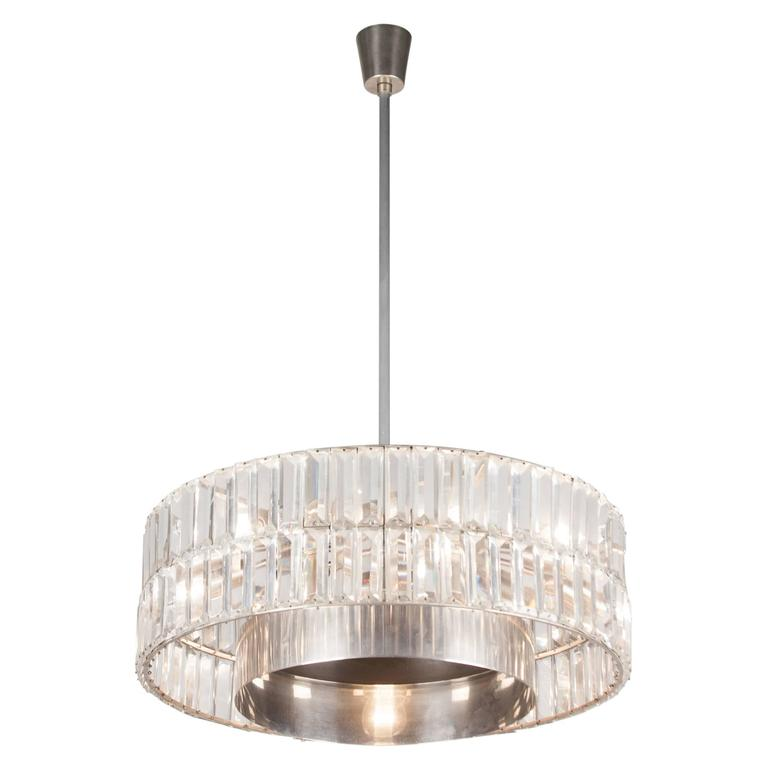 Faceted Crystal Double Row Chandelier, Austrian, 1960s 1