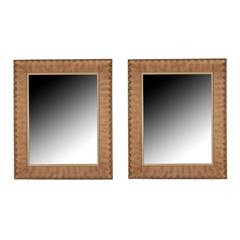Pair of Mirrors in Gilt-Decorated Frames, French, 1940s