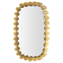 Amber Crackle Resin Frame Mirror