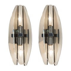 Pair of Smoky Glass Sconces by Veca