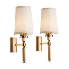 Pair of Single Arm Brass Post Wall Sconces, French, 1960s