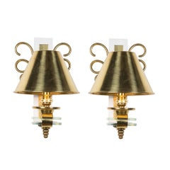 Pair of Single Arm Brass Swirl Wall Sconces, French, 1960s