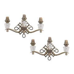Jules Leleu Style Three Light Wall Sconces, French, 1930s