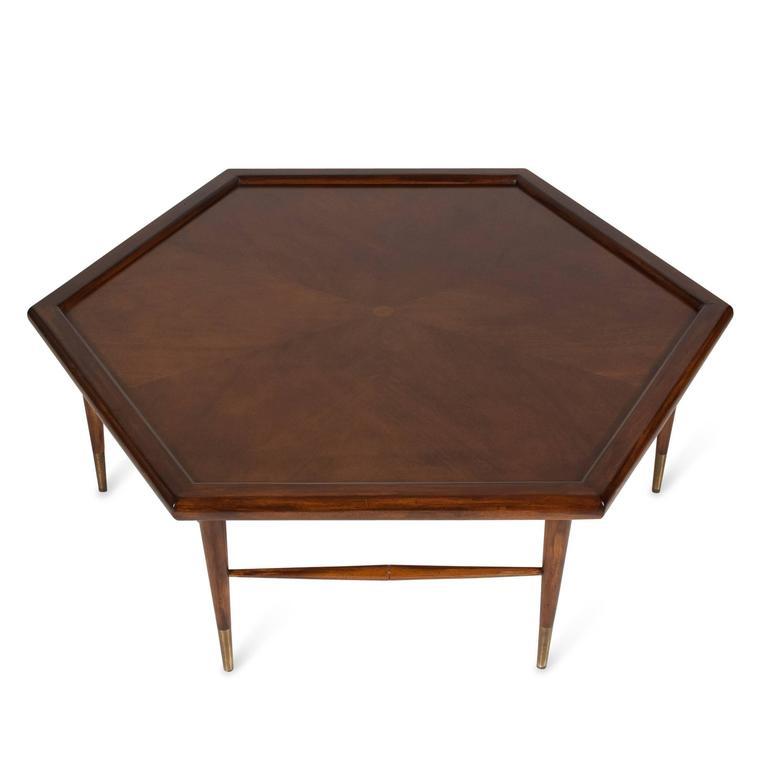 Mahogany Hexagon Coffee Table American 1960s at 1stdibs