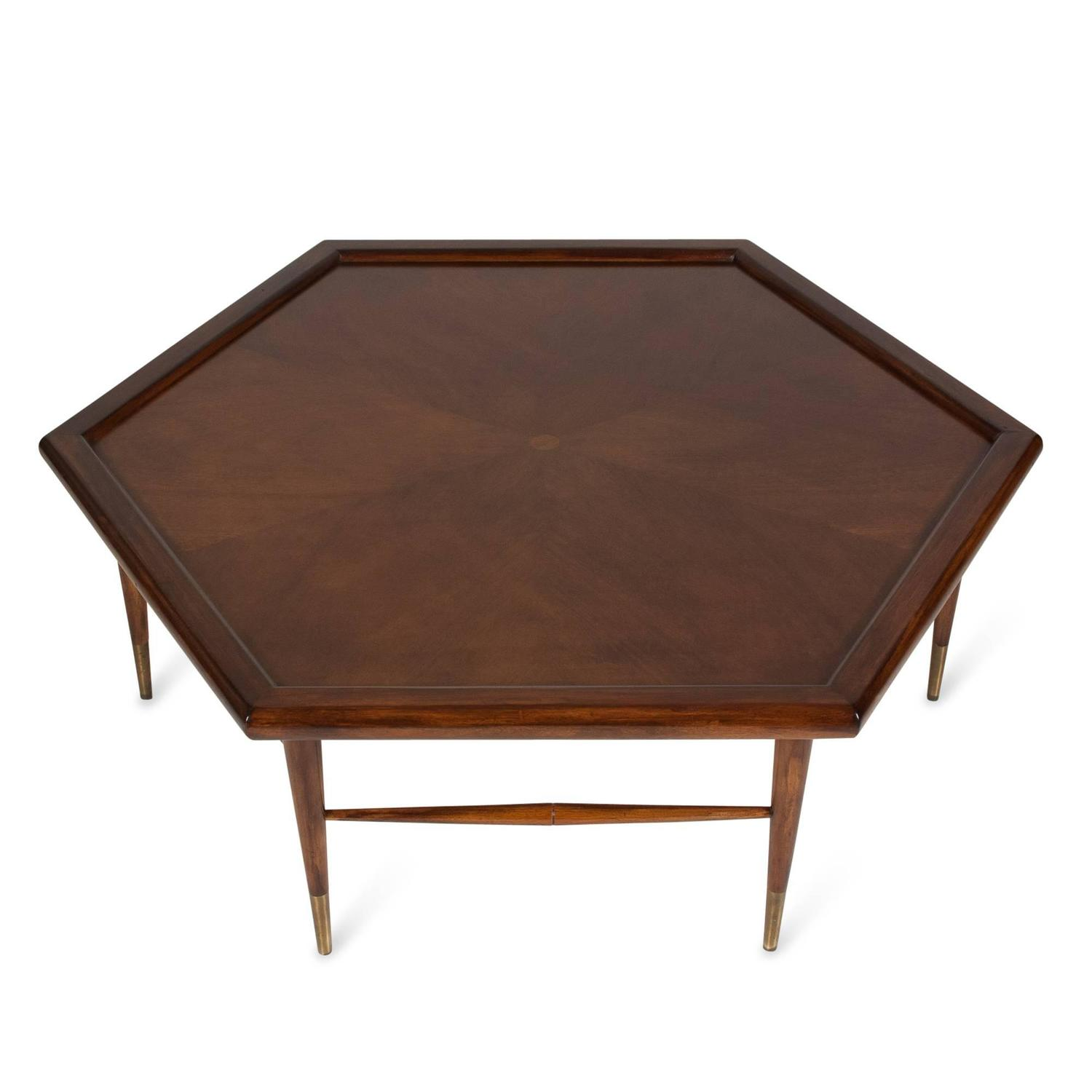 Mahogany Hexagon Coffee Table American 1960s At 1stdibs