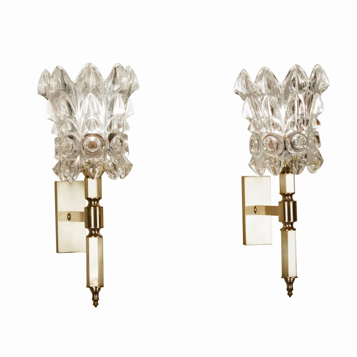 Italian Crystal Wall Lights : Pair of Faceted Crystal Wall Sconces, Italian 1960s at 1stdibs