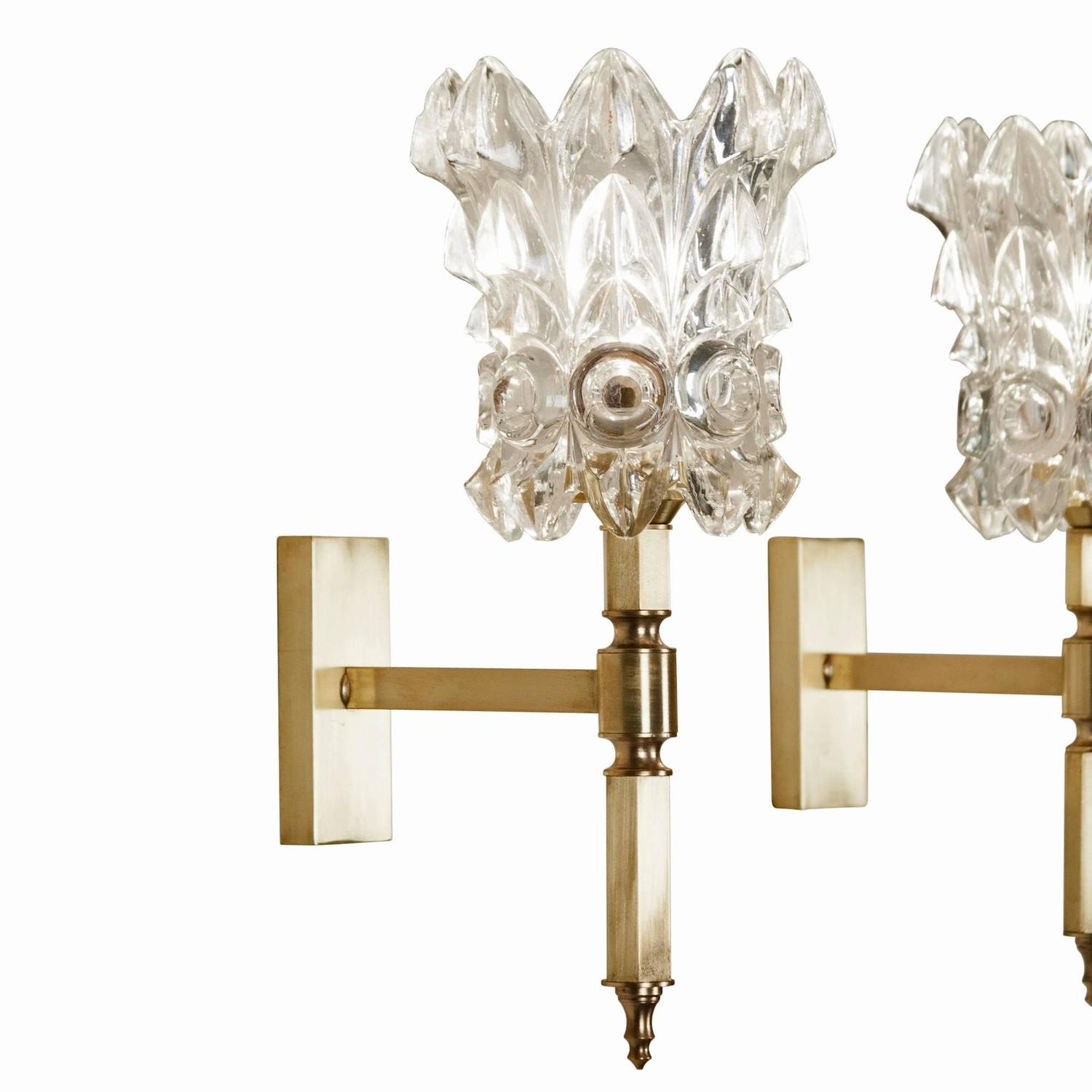 Italian Crystal Wall Sconces : Pair of Faceted Crystal Wall Sconces, Italian 1960s at 1stdibs