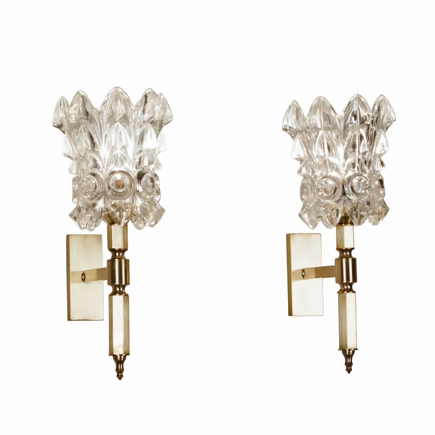 Pair of Faceted Crystal Wall Sconces, Italian 1960s at 1stdibs