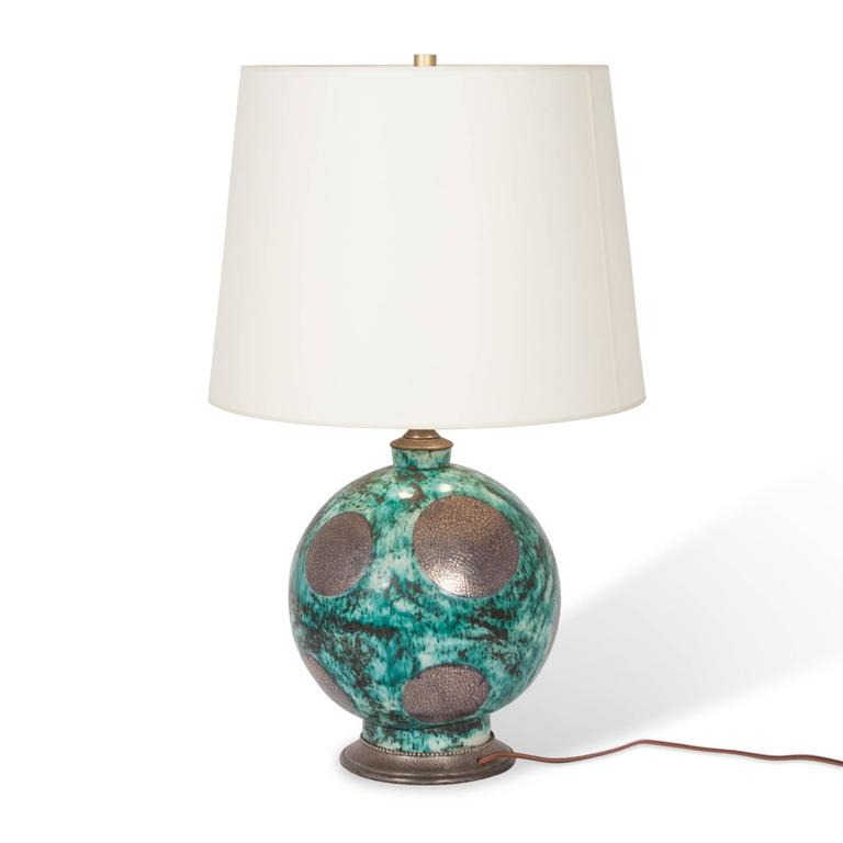 Spherical Pewter Table Lamp American 1930s For Sale At
