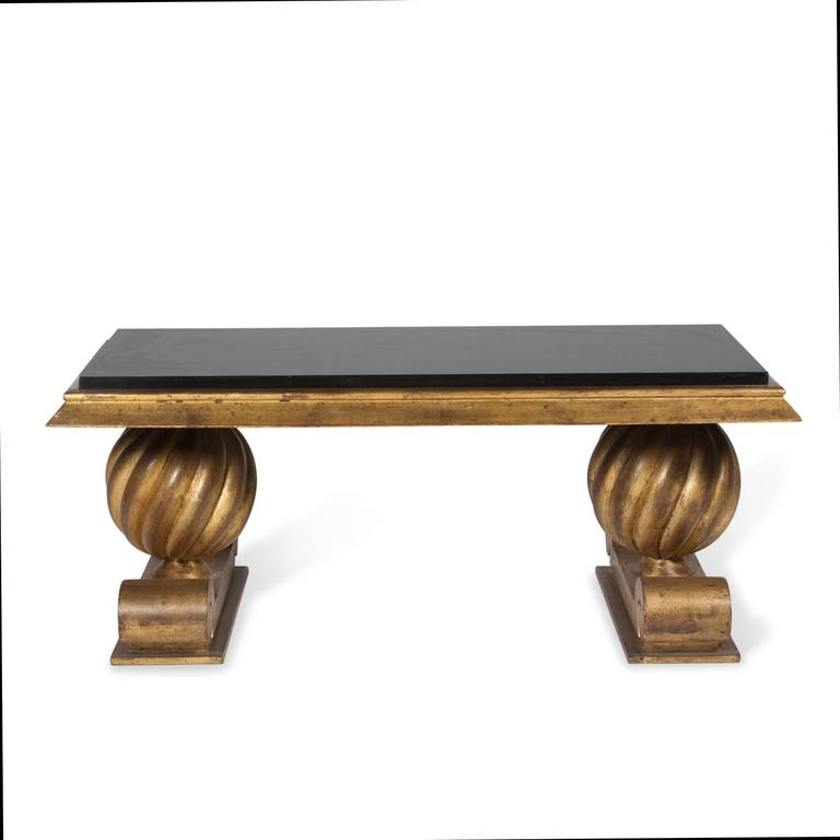 Black Glass Coffee Table Sale: Charles Moreux Style Gold Painted Black Glass Coffee Table