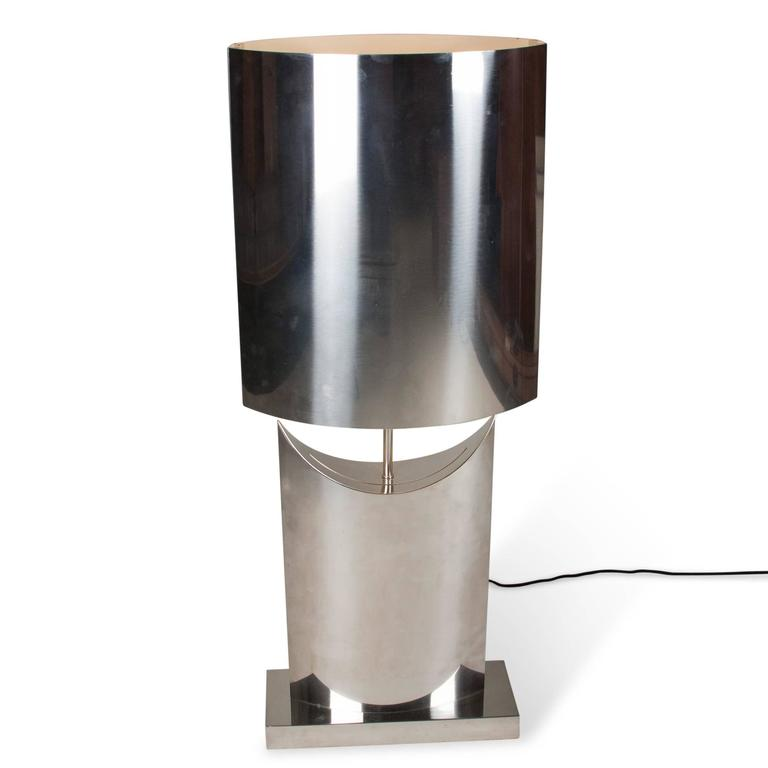 single stainless steel table lamp american 1970s for. Black Bedroom Furniture Sets. Home Design Ideas