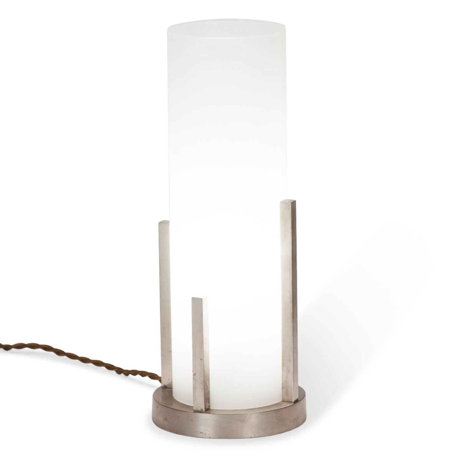 cylindrical frosted glass desk lamp by boris lacroix. Black Bedroom Furniture Sets. Home Design Ideas