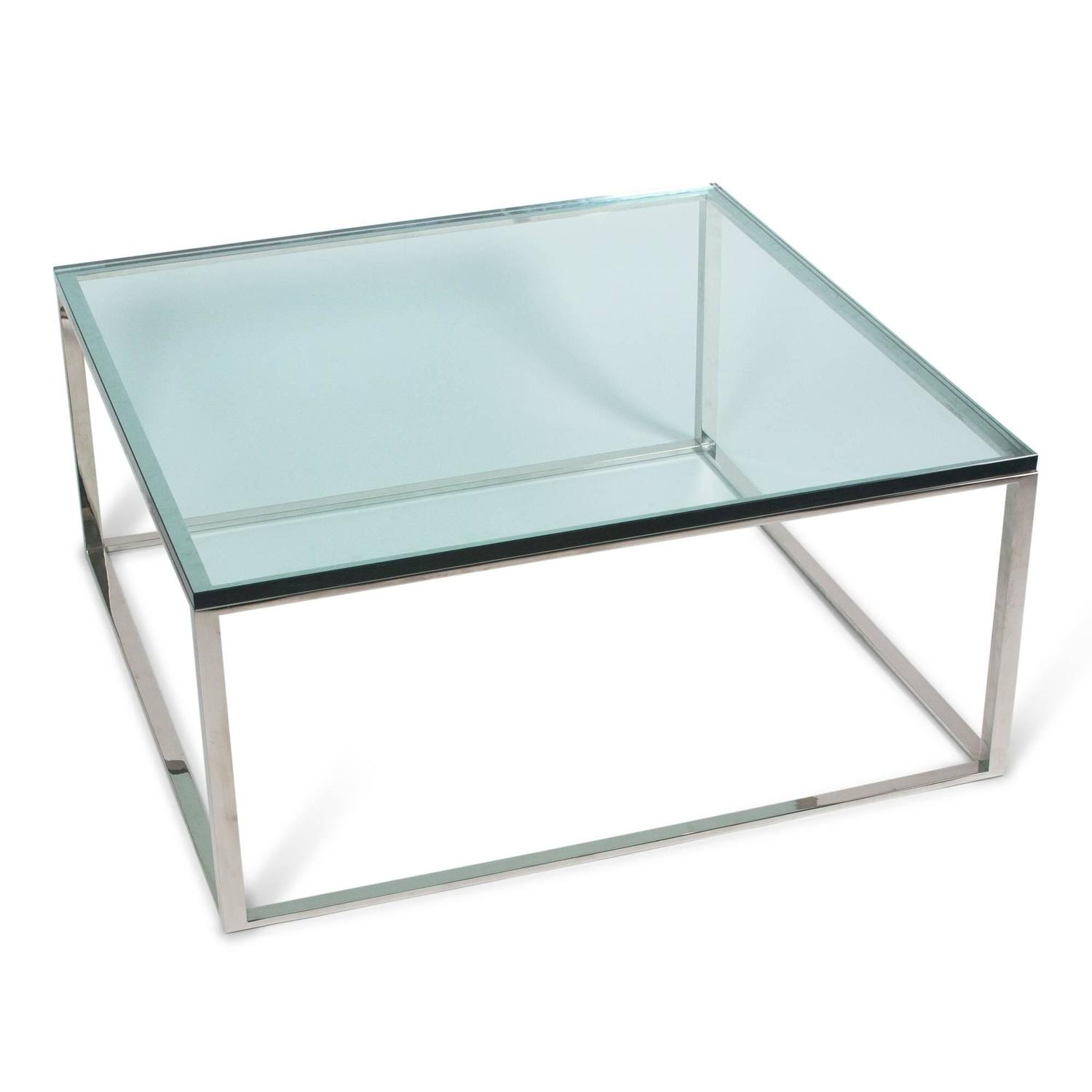 Square Chrome Box Frame Coffee Table, American, 1970s For