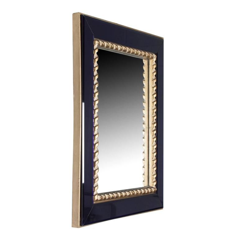 blue glass frame wall mirror with gilt rope border by