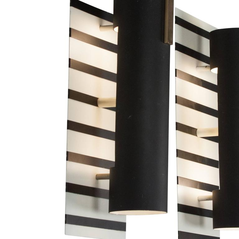 Pair of Black Stripe Painted Metal Wall Sconces, French, 1960s For Sale at 1stdibs