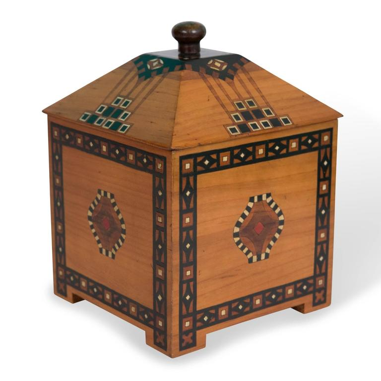 Inlaid Wooden Box And Lid Geometric Inlay German 1930s For Sale At 1stdibs