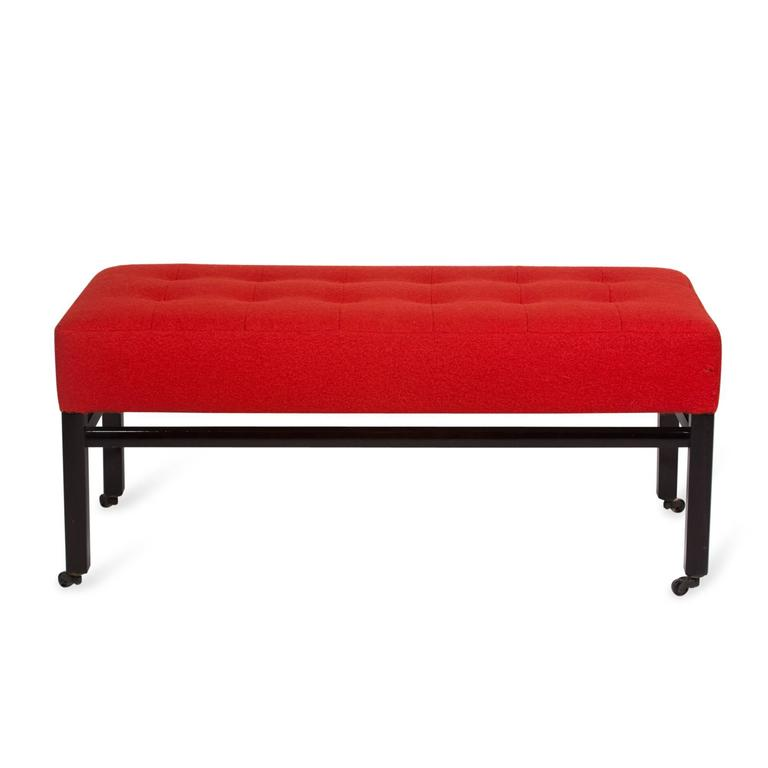 Upholstered Mahogany Bench by Edward Wormley for Dunbar, American, 1950s 2