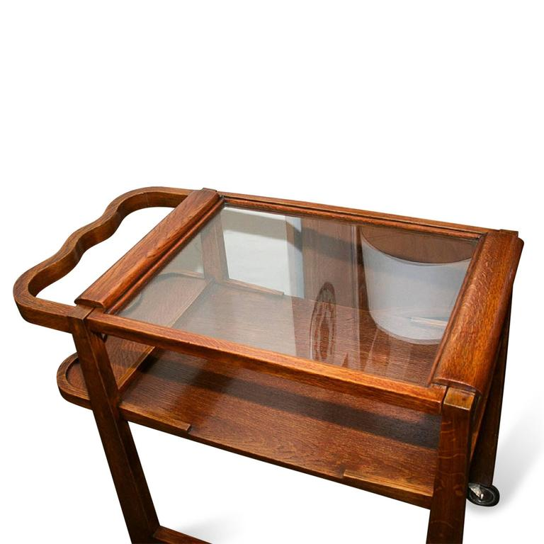 Oak Two-Tier Bar or Tea Cart, Attributed to Maxime Old, French, circa 1950 5