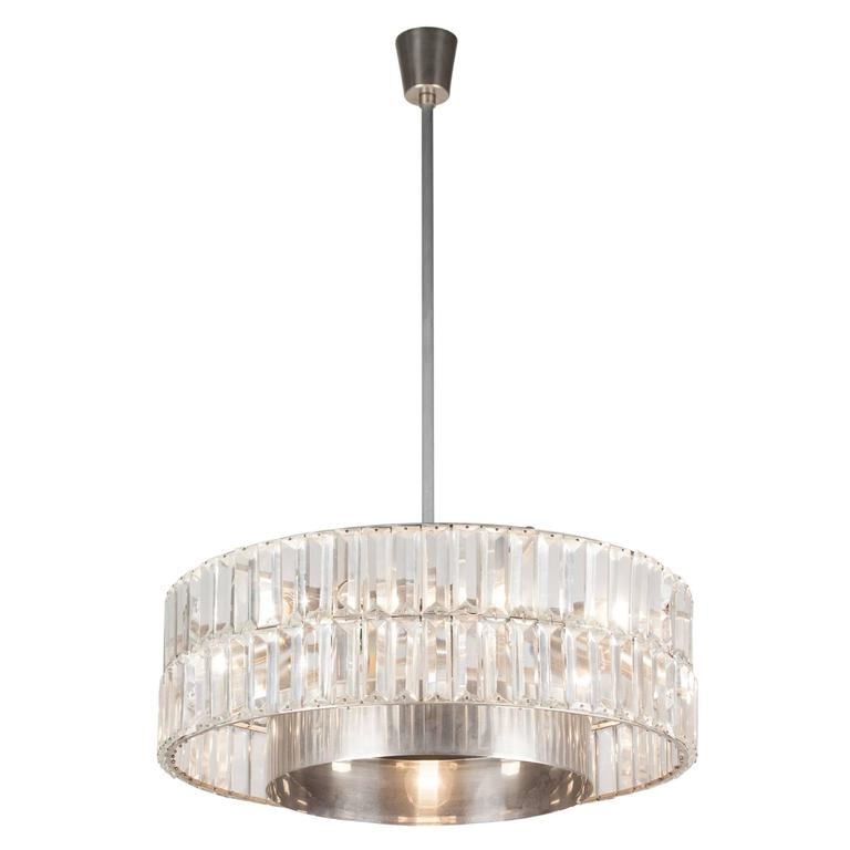 Faceted Crystal Double Row Chandelier, Austrian, 1960s 2