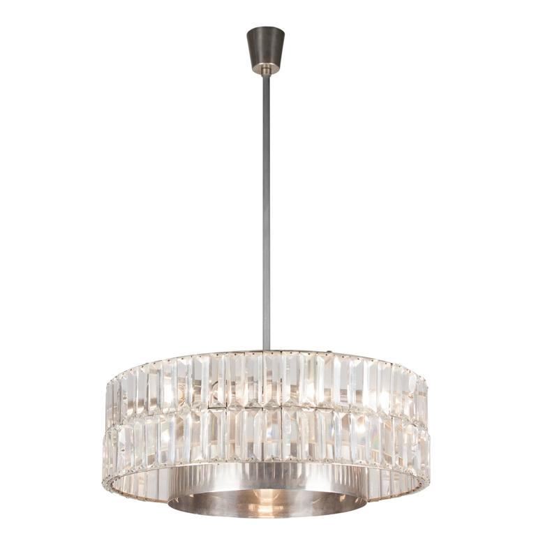 Faceted Crystal Double Row Chandelier, Austrian, 1960s 3